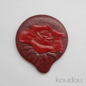 鎌倉彫 姫鏡 小 ばら(朱入り)|koudou