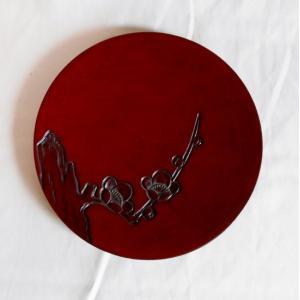 鎌倉彫 平皿 五寸五分 枝梅|koudou