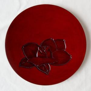 鎌倉彫 平皿 六寸 ばら|koudou