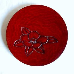 鎌倉彫 平皿 六寸 椿|koudou