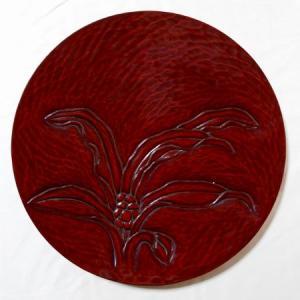 鎌倉彫 平皿 九寸 万年青|koudou