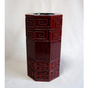 鎌倉彫 花瓶 雷文|koudou