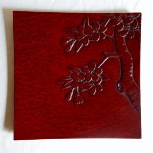 鎌倉彫 角皿 七寸 桜
