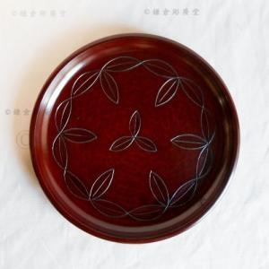 鎌倉彫 丸盆 六寸 木の葉繋ぎ|koudou