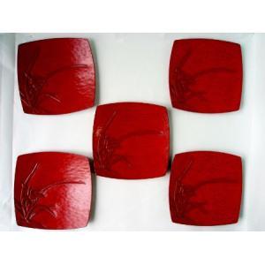 鎌倉彫 銘々皿 胴張皿 シュンラン 五枚組|koudou