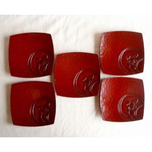 鎌倉彫 銘々皿 胴張皿 丸の春蘭 五枚組|koudou