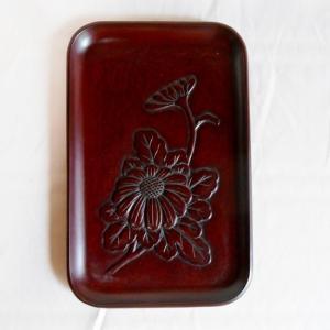 鎌倉彫 名刺盆 菊 koudou