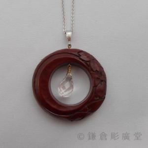 鎌倉彫 ネックレス 円 月に桜(乾口塗)|koudou