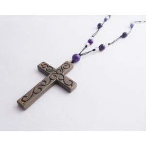 鎌倉彫 ネックレス 十字架(錫粉蒔)|koudou