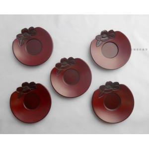 鎌倉彫 茶托 平型 四寸 椿のくずし 五枚組|koudou