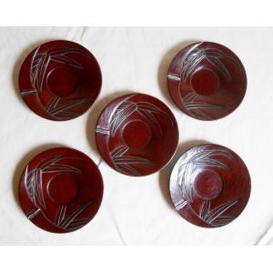 鎌倉彫 茶托 平型 四寸五分 竹 五枚組|koudou