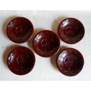鎌倉彫 茶托 桃型 四寸五分 木の葉繋ぎ 五枚組|koudou