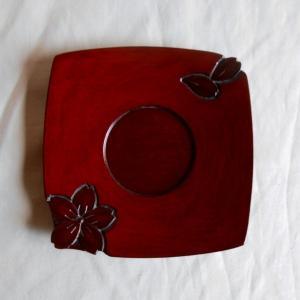 鎌倉彫 バラ売り茶托 胴張型 四寸 桜のくずし (一枚売り)|koudou