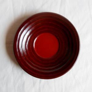 鎌倉彫 バラ売り茶托 桃型 四寸 円に流し刀痕 (一枚売り)|koudou