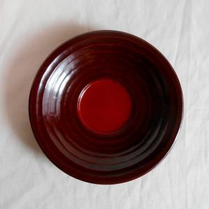 鎌倉彫 バラ売り茶托 桃型 四寸五分 円に流し刀痕 (一枚売り)|koudou