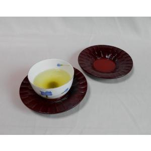 鎌倉彫 夫婦茶托 朝顔型 四寸五分 箱ノミ刀目|koudou