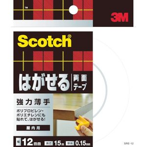 3M スコッチ はがせる両面テープ 強力薄手12x15m SRE-12  SRE-123080