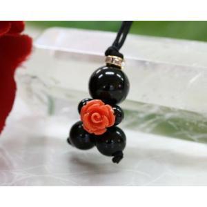 ストラップ オニキス 水晶 コーラル薔薇 パワーストーン 携帯ストラップ