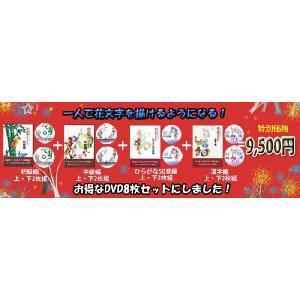 初級・中級・ひらがな・漢字編各2枚組のDVDが全てセットになったお得なセット!花文字用品、花文字道具、中国花文字、花文字の描き方。花文字DVD8セット|kougabunkaten