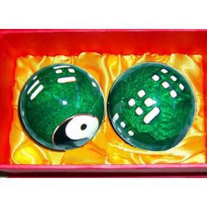 太極拳 / 健身球 / カンフー / 武術 / 健康 / 健康器具 / 健康アイテム / ツボマッサージ / 気功健身鉄球 緑色八卦健身球|kougabunkaten
