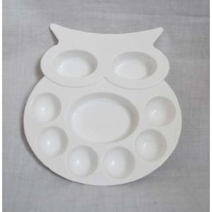 水墨画 日本画 水彩画 絵皿 フクロウ型|kougabunkaten