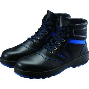 シモン 安全靴 編上靴 SL22−BL黒/ブルー 23.5cm (1足) 品番:SL22BL-23.5