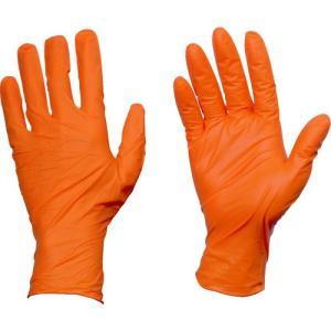 トラスコ 使い捨てニトリル手袋TGワーク 0.10 粉無オレンジS (1箱) 品番:TGNN10OS