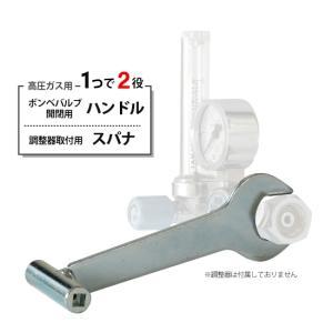 スパナ式開閉ハンドル 高圧ガスボンベのバルブ開閉機能、調整器の取付機能