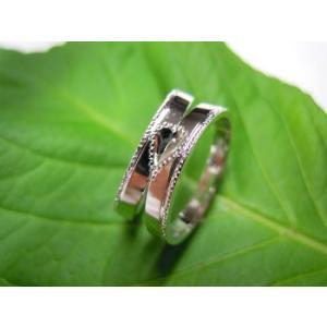 プラチナ 結婚指輪【本物の鍛造】2本の指輪を合わせると 可愛いミル打ちのハートに|kouki|02
