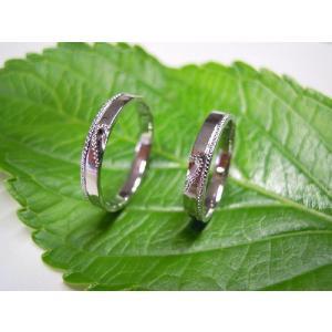 プラチナ 結婚指輪【本物の鍛造】2本の指輪を合わせると 可愛いミル打ちのハートに|kouki|04