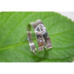 プラチナ結婚指輪(鍛造&彫金)光沢 ミル打ち 合わせるとハート|kouki