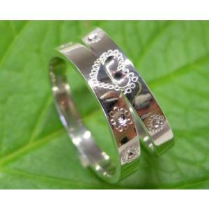 プラチナ 結婚指輪【本物の鍛造】ハートをミル打ちで囲んだ可愛いデザイン&指輪を重ねるとハートに|kouki|05