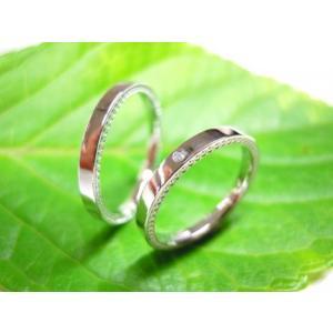 プラチナ結婚指輪(鍛造&彫金)光沢 ダイヤ入り 側面にミル打ち|kouki