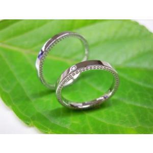 プラチナ結婚指輪(鍛造&彫金)光沢 ダイヤ入り 側面にミル打ち|kouki|04