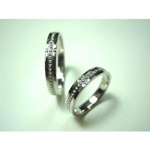 プラチナ結婚指輪(鍛造&彫金)光沢 ミル打ち 十字架 クロス|kouki