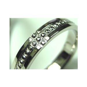 プラチナ結婚指輪(鍛造&彫金)光沢 ミル打ち 十字架 クロス|kouki|03