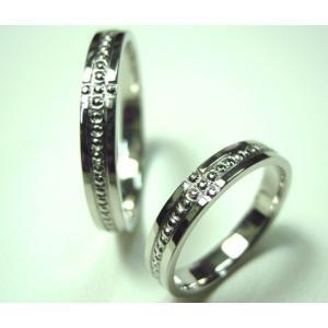 プラチナ結婚指輪(鍛造&彫金)光沢 ミル打ち 十字架 クロス|kouki|04
