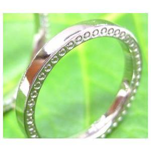 プラチナ結婚指輪(鍛造&彫金)光沢 極細リングの側面にミル打ち|kouki|03