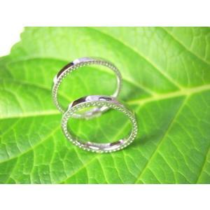 プラチナ結婚指輪(鍛造&彫金)光沢 極細リングの側面にミル打ち|kouki|04