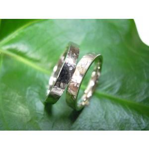 プラチナ結婚指輪(鍛造&彫金)光沢 槌目&打ち出し シンプル平打ち|kouki|02