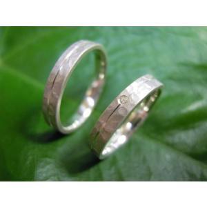 プラチナ結婚指輪(鍛造&彫金)マット 槌目&打ち出し 平打ちダイヤ入り|kouki|04