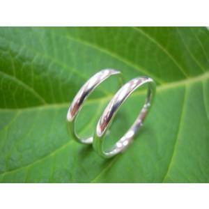プラチナ結婚指輪(鍛造&彫金)光沢 ストレートでシンプルな細目の甲丸|kouki|02