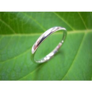 プラチナ結婚指輪(鍛造&彫金)光沢 ストレートでシンプルな細目の甲丸|kouki|03