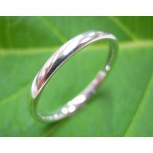 プラチナ結婚指輪(鍛造&彫金)光沢 ストレートでシンプルな細目の甲丸|kouki|04