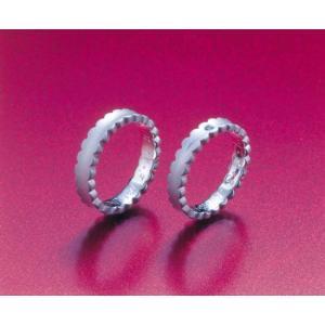 プラチナ結婚指輪(鍛造&彫金)艶消し ウエディングドレス&フリル ダイヤ入り|kouki
