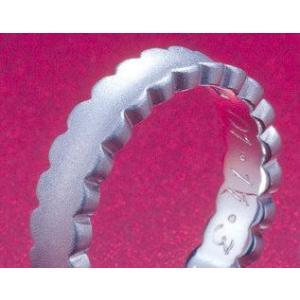 プラチナ結婚指輪(鍛造&彫金)艶消し ウエディングドレス&フリル ダイヤ入り|kouki|03