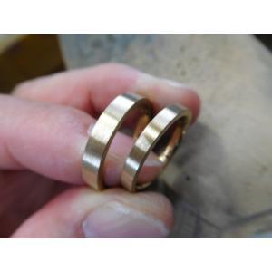 プラチナ結婚指輪(鍛造&彫金)光沢&艶消しコンビ 幸せの四葉のクローバー|kouki|03
