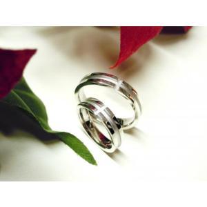 プラチナ結婚指輪(鍛造&彫金)光沢&艶消しコンビ 十字架 ホワイトクロス|kouki|04