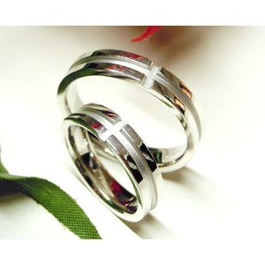 プラチナ結婚指輪(鍛造&彫金)光沢&艶消しコンビ 十字架 ホワイトクロス|kouki|05