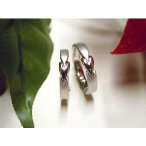 プラチナ 結婚指輪【本物の鍛造】細長いハートのデザイン 艶消し&光沢のコンビでハートが引き立つ!|kouki